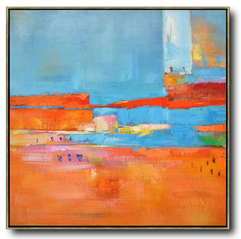 Oversized Contemporary Art,Multicolor Abstract Painting,Red,Blue,Orange,Yellow,Pink